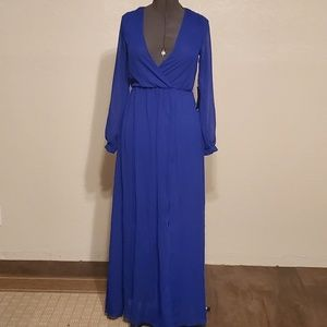 Lulu's Blue Sheer Maxi Dress Small